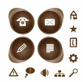 Brown icons collection — Stock Vector