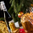 Wine Glasses and Panettone italian typical christmas cake — Stock Photo #57116411