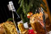 Wine Glasses and Panettone italian typical christmas cake — Stock Photo