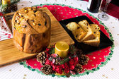 "italian typical christmas cake called ""panettone"" on table wirh — Foto Stock"