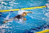 MILAN - DECEMBER  23: V. Neri performing backstroke  in  Swimmin — Stock fotografie