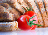 Tomato and bread — Stock Photo