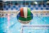 Water polo balls on swimming pool — Stock Photo