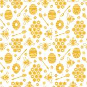 Seamless pattern with bees and honey — Stock Vector