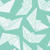 Paper ships seamless pattern — Vetorial Stock