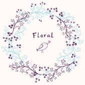 Floral frame. Vector background — Stock Vector