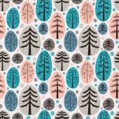 Fir trees seamless pattern — Stock Vector