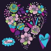 Floral heart. Vector illustration — Stock Vector