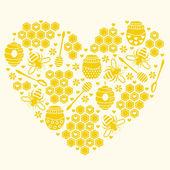 Honey heart. Vector illustration — Stock Vector