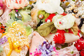 Handmade soaps on a basket decorated with flowers — Stock Photo