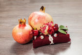Decorate soap and pomegranate — Foto de Stock
