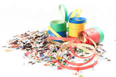 Confetti and streamers — Stock Photo