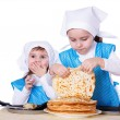 Little children with pancakes — Stock Photo #67079319