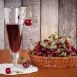Natural cherry drink in the glass — Stock Photo #72233045
