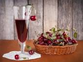 Natural cherry drink in the glass — Stock Photo