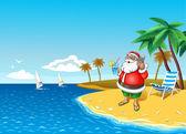 Christmas Santa On The Beach with smartphone — Stock Vector