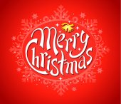 Merry Christmas red lettering, vector illustration — Stock Vector