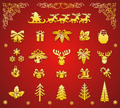 Christmas Golden Decorative Elements Set — Vetorial Stock