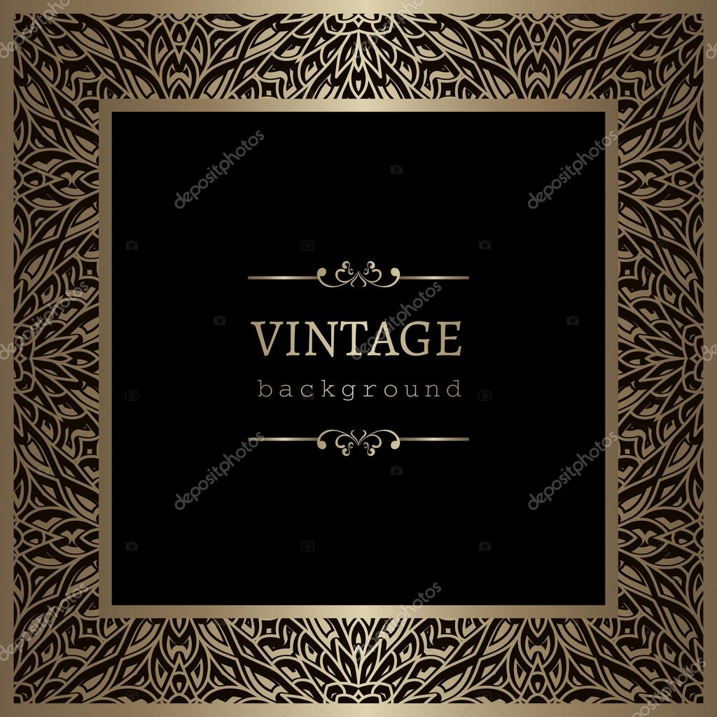 vintage gold square frame stock vector 124010098