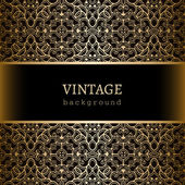 Vintage gold frame with lace borders — Stock Vector