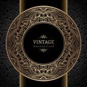 Ouro redonda moldura vintage — Vetor de Stock