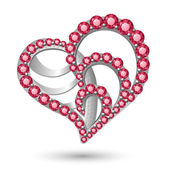 Jewelry heart on white — Vecteur