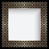 Square gold lace frame — Vetor de Stock