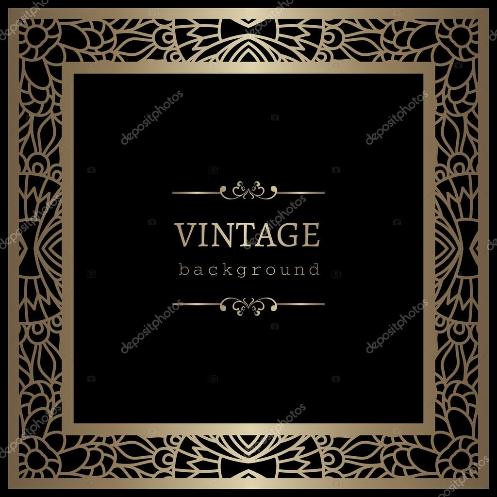 vintage gold background square frame with lace border ornament on black vector by magenta10