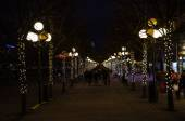 Illuminated footpath in the center of Stockholm — Stock Photo