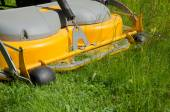 Detail of a riding lawn-mower — Stock Photo