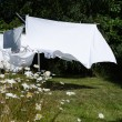 Drying white sheets — Stock Photo #78469458