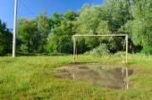 Football gate puddle — Stock Photo