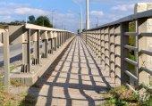 Bridge  fence shadows — Stock Photo