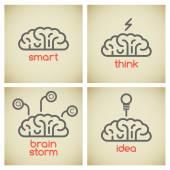 Brain logo set — Stock Vector