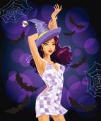 Sexy dancing Halloween witch — Vector de stock