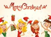 Happy Santa Helpers — Stock Vector