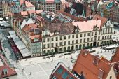 Air view panorama with wroclaw (breslau), poland. — Stock Photo