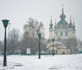 Saint Andrew's Church at the top of the Andriyivskyy Descent in  — Stock Photo