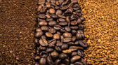 Collection of coffee, milled, instant and beans — Stock Photo