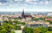 View on the city and the church in Wroclaw — Stock Photo