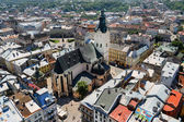 Air view on the Cathedral and central part of Lviv City — Stock Photo