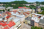 View on the central part of Lviv and the Market square. — Stock Photo
