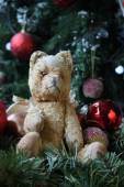 Vintage teddy at christmas — Stock Photo