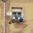 The windows of an apartment house and laundry on a clothesline — Stock Photo #68805803