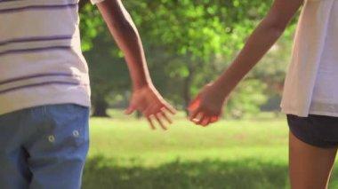 1of18 Black boy, white girl, children holding hands — Stock Video