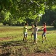 6of18 Children playing ring around rosie, young people, fun, park — Stock Video #56068897