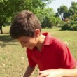 3of18 Boy, child, kid playing soccer, football in park, ball — Stock Video #56069121