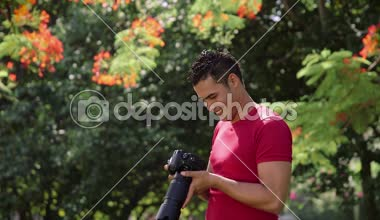 5of6 Portrait of happy man, amateur photographer smiling with camera — Stock Video