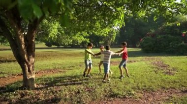 6of18 Children playing ring around rosie, young people, fun, park — Stock Video