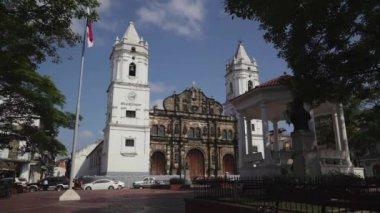 13of19 Panama City, Casco Viejo, Casco Antiguo, Old Quarter church — Stock Video